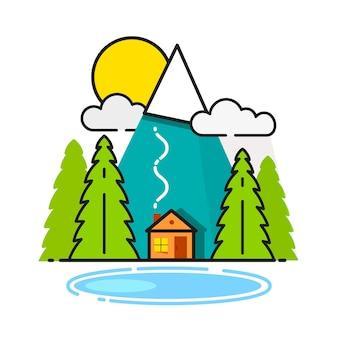 Бревенчатый домик в лесу векторный icon, готовый для вашего дизайна, поздравительных открыток, баннеров