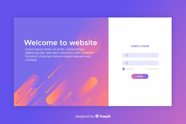 Log in concept for landing page
