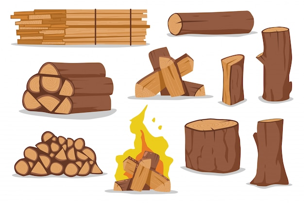 Log and firewood  cartoon set isolated on white background.