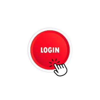 로그인 버튼입니다. 모바일 앱, 소셜 미디어용. 격리 된 흰색 배경에 벡터입니다. eps 10.