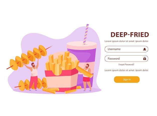 Вход в форму для ввода пароля с мужчинами, которые едят фаст-фуд во фритюре
