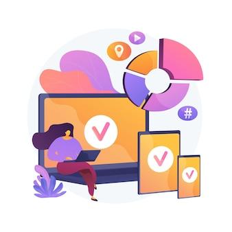 여러 장치에 로그인하십시오. 반응 형 앱 디자인. 가제트를위한 와이파이 존. 온라인 커뮤니케이션, 소셜 네트워킹, 웹 연결. 가입을 초기화합니다. 벡터 격리 된 개념은 유 그림입니다.