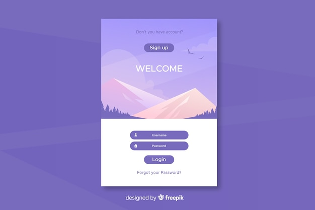 Log in landing page design