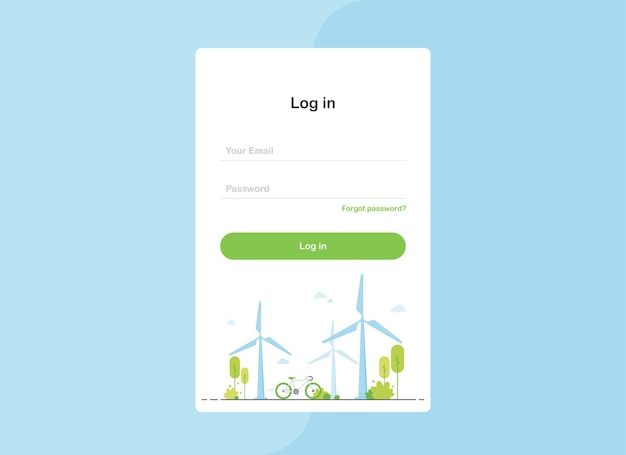 Log in landing page template in flat design