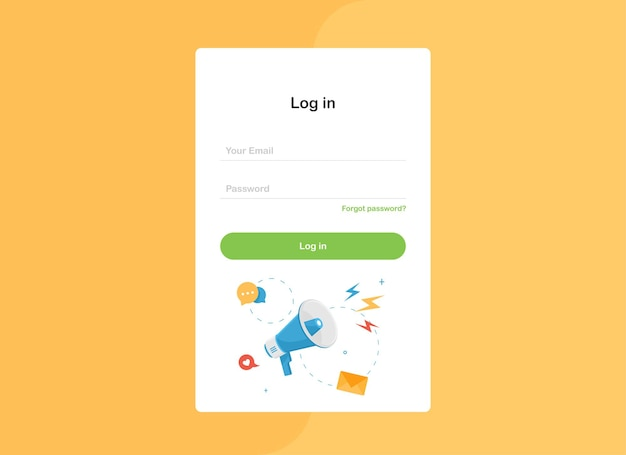 Log in landing page template form with megaphone in flat design