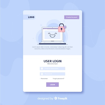 Log in landing page template