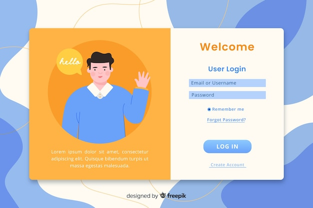 Log in landing page web template