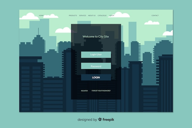 Log in landing page with city background