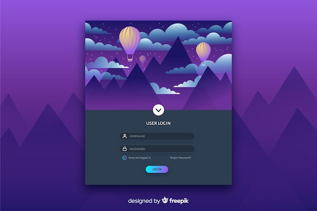 Log in landing page with colorful flat landscape