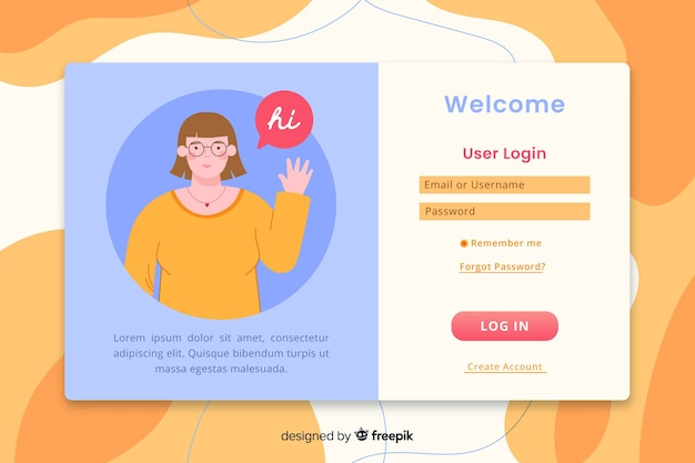 Log in landing page with flat design