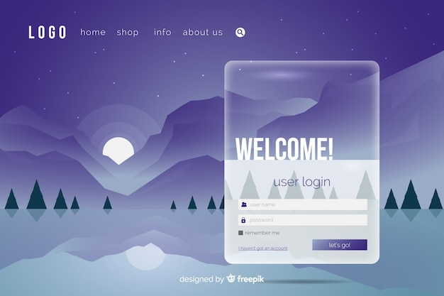 Log in landing page with icons