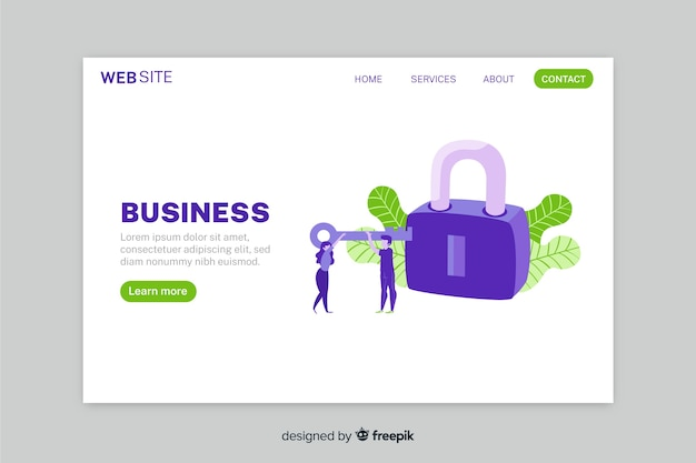 Log in landing page with key and lock