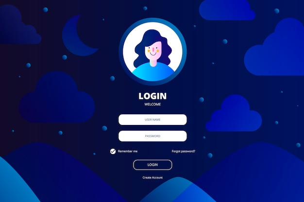 Log in landing page with login box