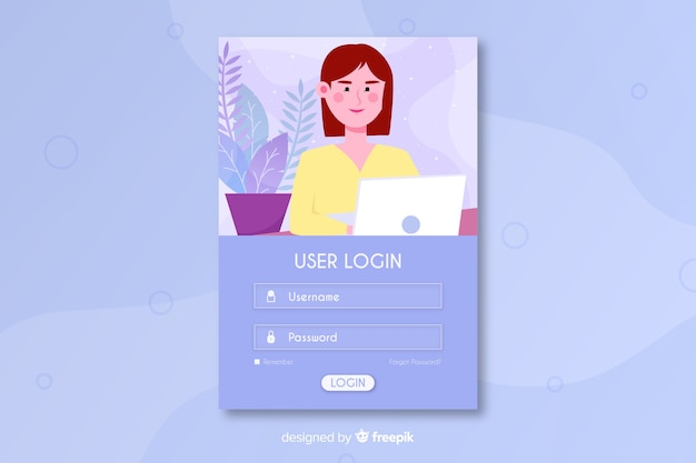 Log in landing page with username