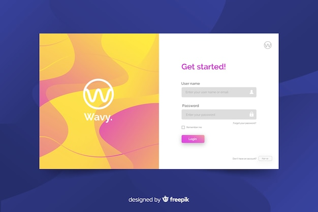 Log in landing page with wavy background