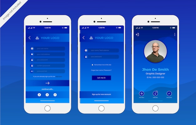 Log in mobile interface template