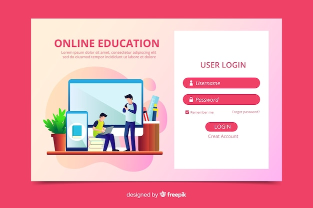 Log in online education landing page