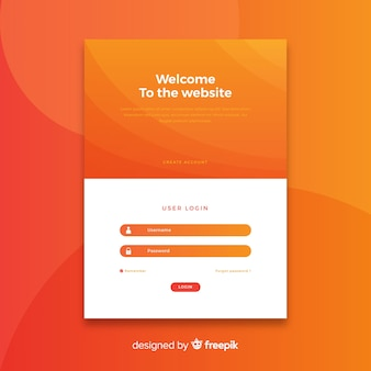 Log-in orange landing page