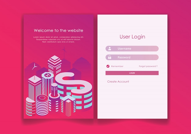 Log in page design