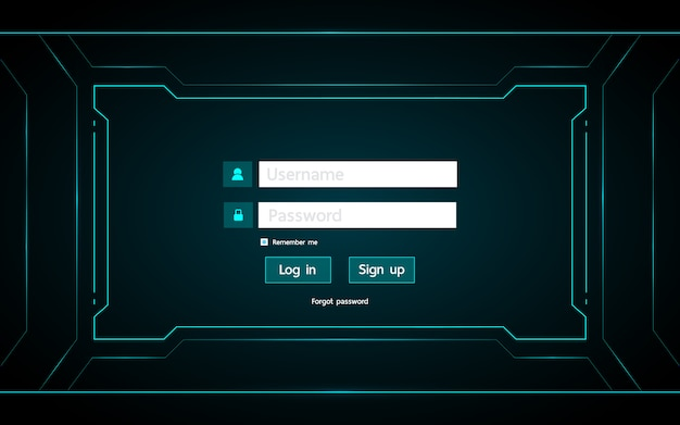 Log in page ui design on technology futuristic interface hud background.