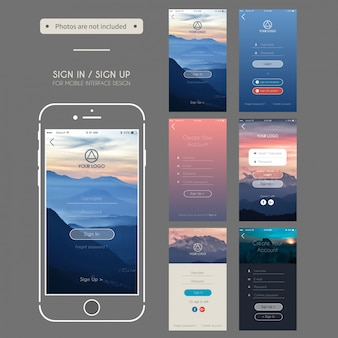 Log in sign up mobile user interface design