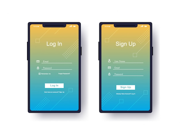 Log in, sign up user interface