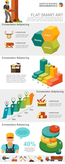 Logging industry and management concept infographic charts set
