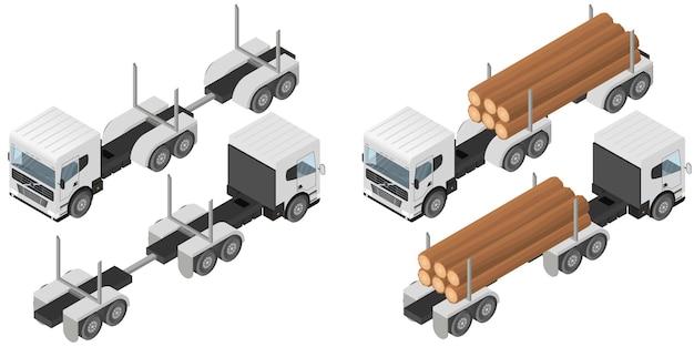 아이소메트릭 로깅 트럭입니다. 흰색 차량의 몸에 통나무 무리. 건설 산업입니다. 삼림 벌채. 산림절단. 화물 운송. 벡터 일러스트 레이 션.
