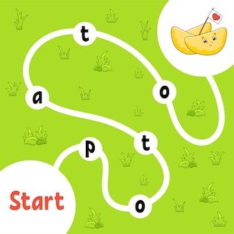 Логическая игра-головоломка. учим слова для детей. найдите скрытое имя. рабочий лист развития образования. страница активности для изучения английского языка.