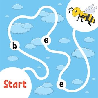 Логическая игра-головоломка. учим слова для детей. полосатая пчела найдите спрятанное имя. рабочий лист развития образования. страница активности