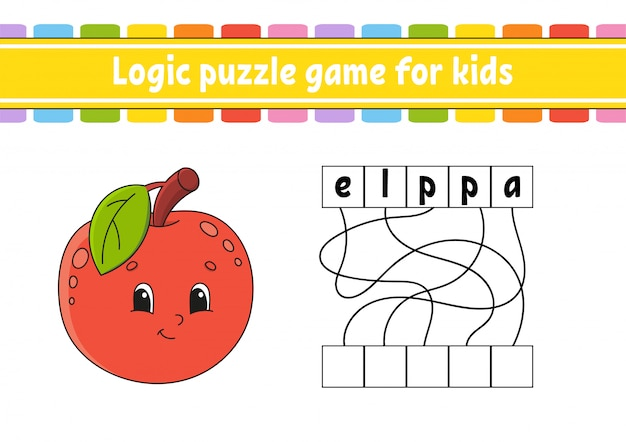 Logic puzzle game. learning words for kids. cute apple.
