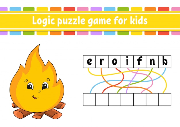 Logic puzzle game. learning words for kids. find the hidden name. worksheet, activity page.