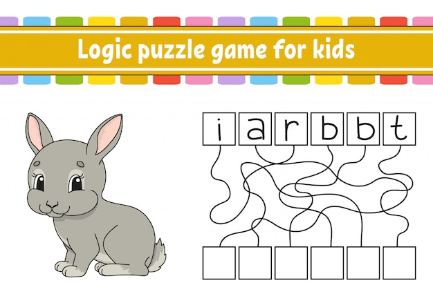 Logic puzzle game. learning words for kids. find the hidden name.