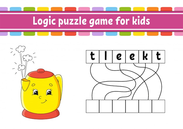 Logic puzzle game. learning words for kids.