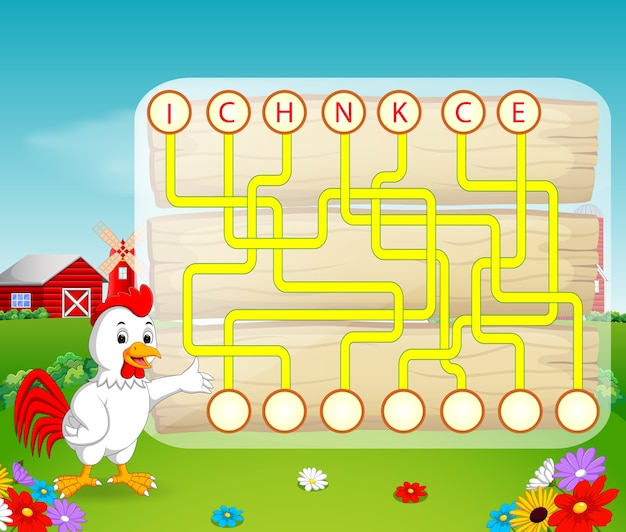 Logic puzzle game for study english with rooster