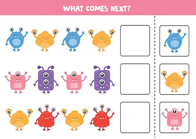 Логическая игра для детей. какой монстр будет следующим?