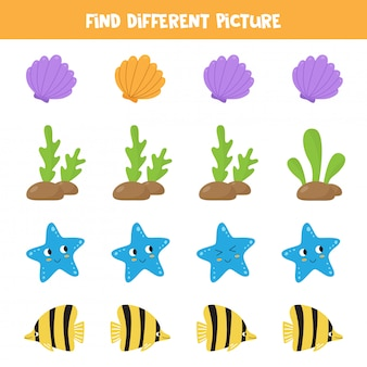 Logical game for kids. find different picture in each row. sea animals.