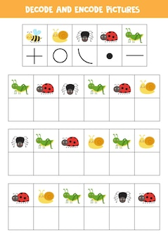 Logical game with cute cartoon insects