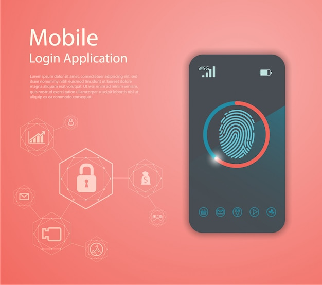 Login application with fingerprint form window.
