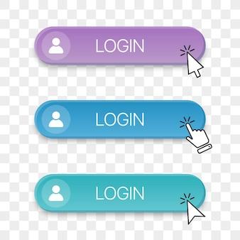 다른 클릭 손 커서가 있는 로그인 버튼 아이콘 모음