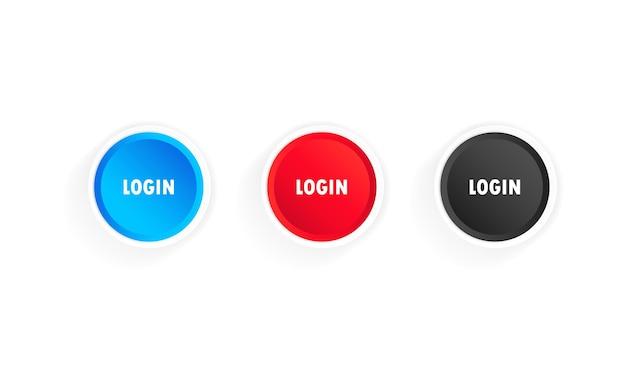 ログインボタンアイコンセット。ウェブサイト、モバイルアプリに使用できます。孤立した白い背景の上のベクトル。 eps10。
