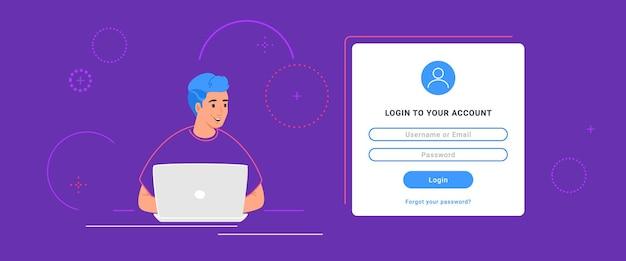 소셜 미디어 및 개인 계정에 대한 로그인 양식 및 정보 보안. 자신의 웹 계정에 로그인하기 위해 노트북을 사용하는 평평한 10대 남자. 보라색 배경에 암호 인증 양식 템플릿 디자인