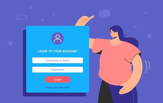 ソーシャルメディアと個人アカウントへのログインフォームと情報セキュリティ。アカウントにログインするために立って指さしている平らな10代の女性。青い背景の上のパスワード認証フォームテンプレートデザイン