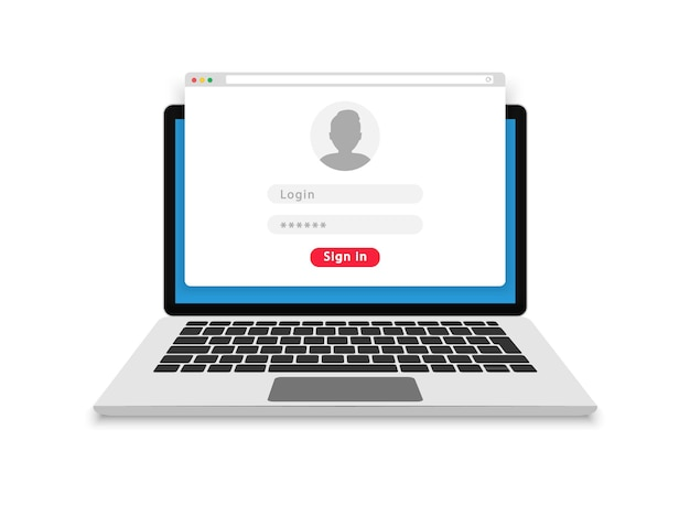 Login form on laptop screen. login and password form page. account login user. sign in to account. username and password fields for authorization. flat design.  illustration.