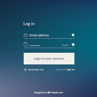 Login form on blue background