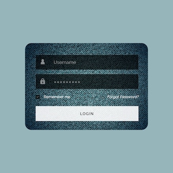 Login form template in jeans texture style