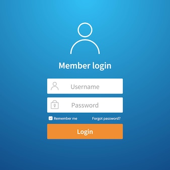 Форма входа. страница экрана учетной записи пользовательского интерфейса сайта регистрация профиля пользователя интерфейс отправить шаблон входа в сеть