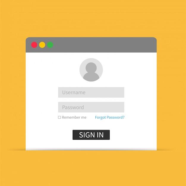 로그인 인터페이스, 사용자 이름 및 비밀번호. 웹 디자인을위한 벡터 일러스트 템플릿