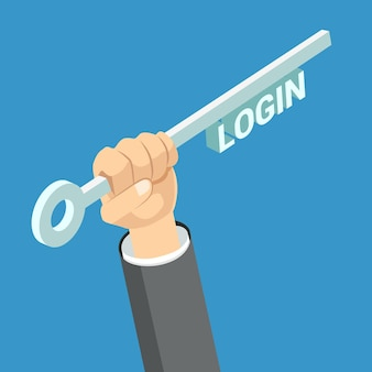 Login key flat isometric