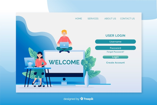 Login landing page template flat design